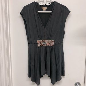 April Cornell Grey/Brown v-neck Boho Top Size M